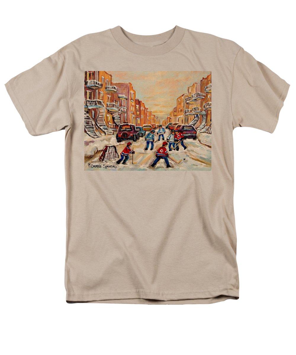 After School Hockey Game Men's T-Shirt (Regular Fit) featuring the painting After School Hockey Game by Carole Spandau