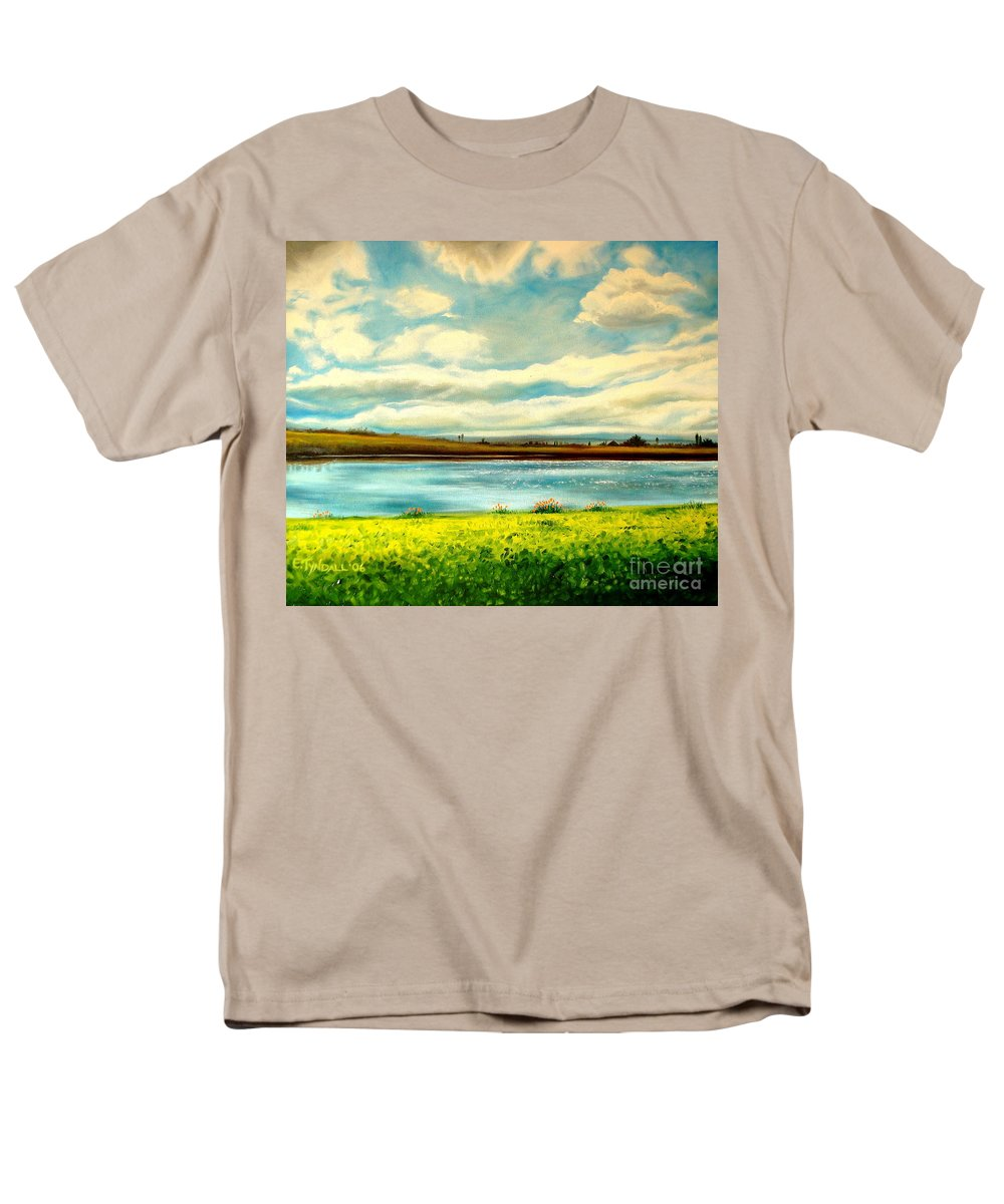 Landscape Men's T-Shirt (Regular Fit) featuring the painting Am I Dreaming by Elizabeth Robinette Tyndall