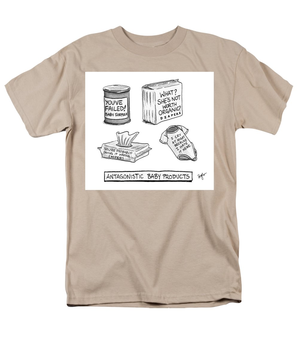 Antagonistic Baby Products Men's T-Shirt (Regular Fit) featuring the drawing Antagonistic Baby Products by Sophia Wiedeman