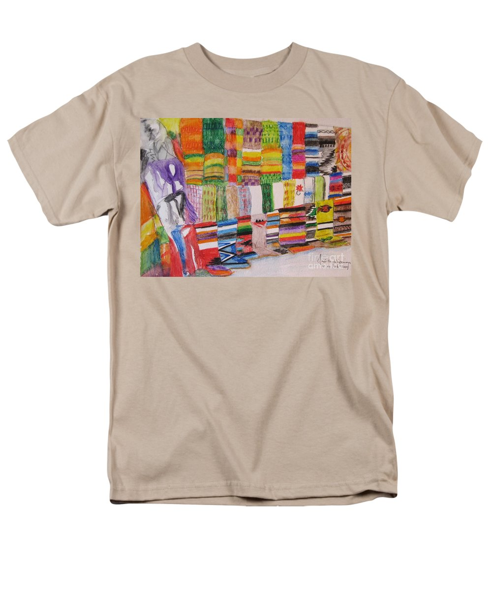 Bright Colors Men's T-Shirt (Regular Fit) featuring the painting Bazaar Sabado - GIFTED by Judith Espinoza