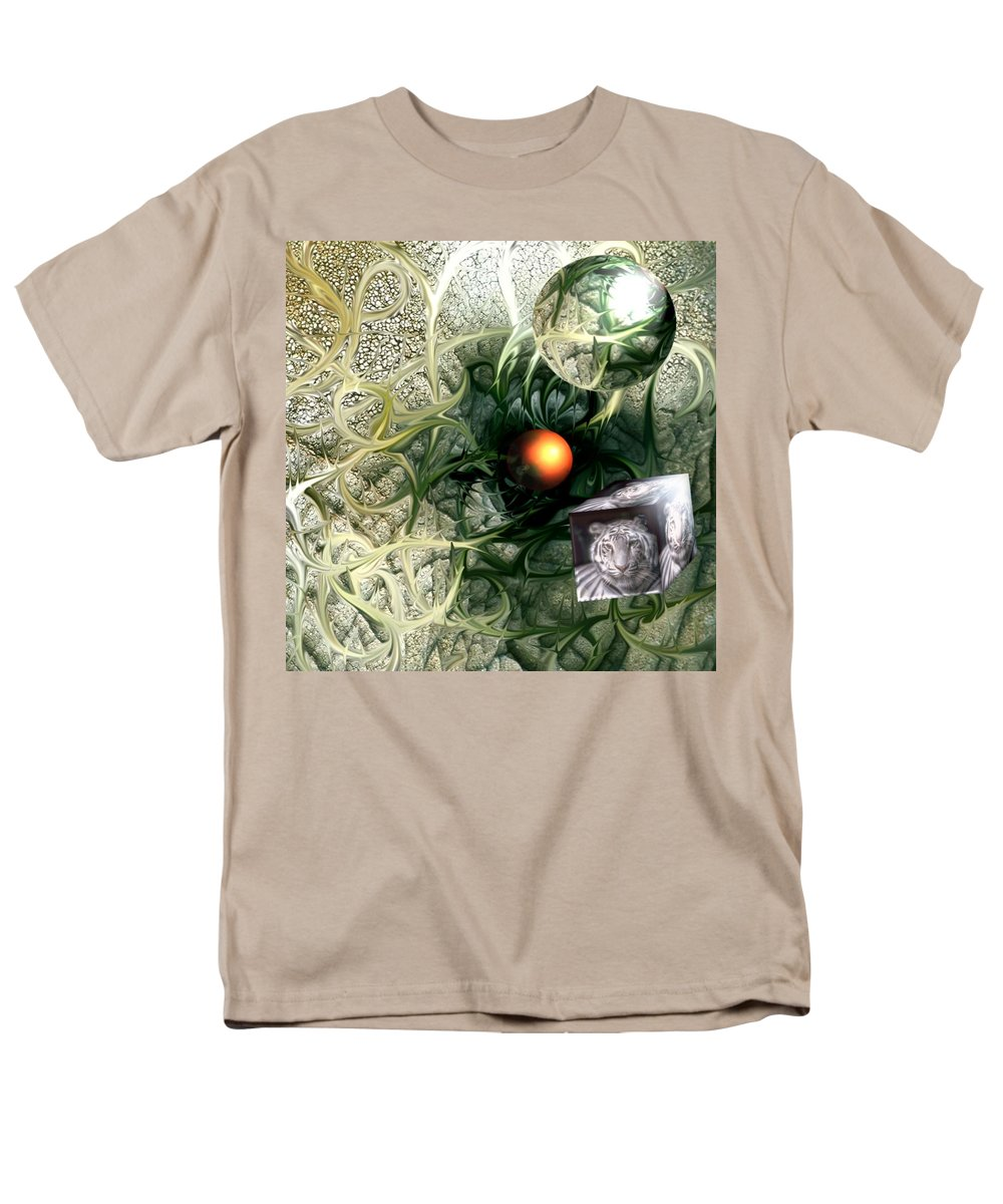 Abstract Nature Red Birth Tiger Spheres Wire Men's T-Shirt (Regular Fit) featuring the digital art Birth by Veronica Jackson
