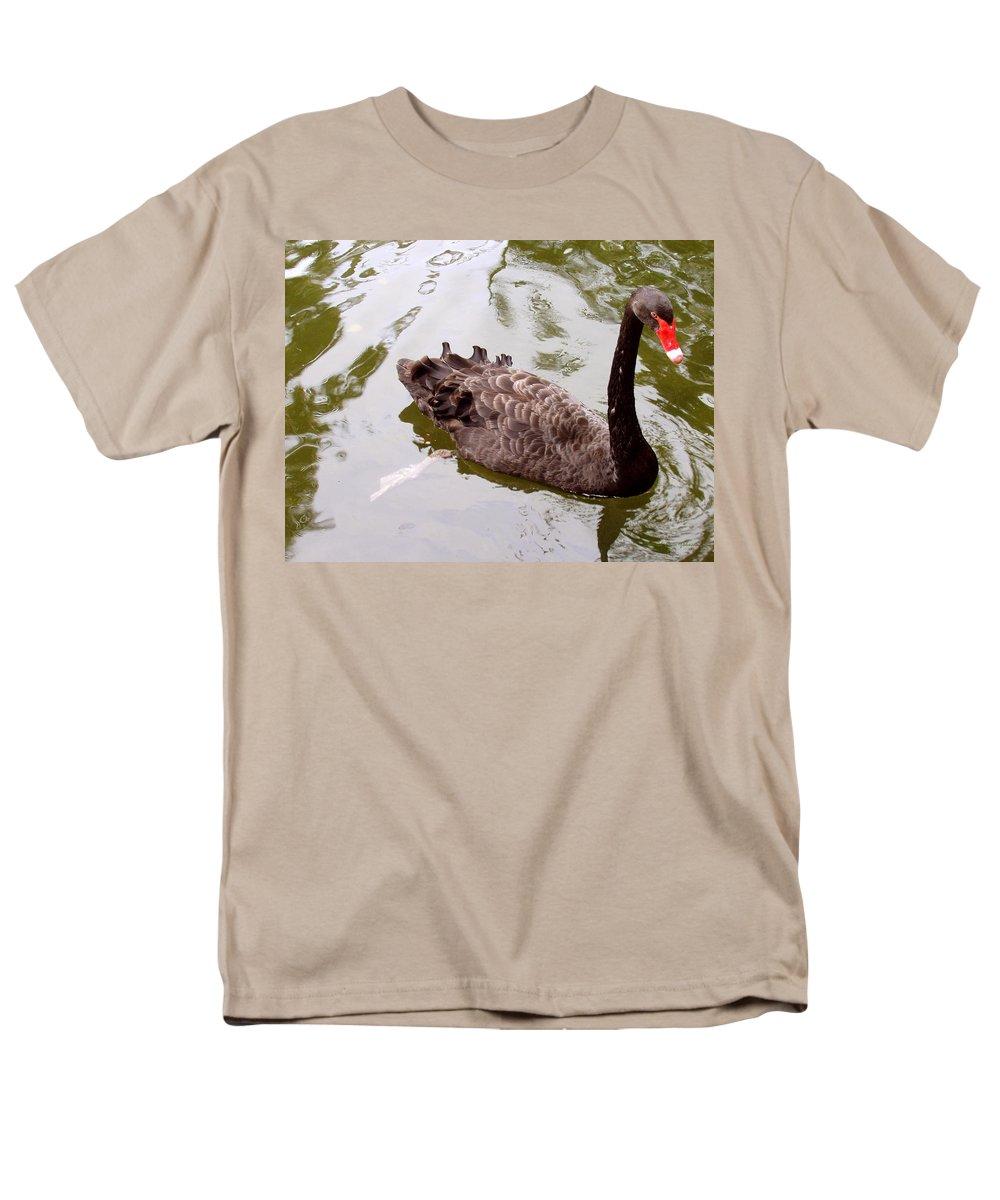 Black Men's T-Shirt (Regular Fit) featuring the photograph Black Swan Poised by Deborah Crew-Johnson