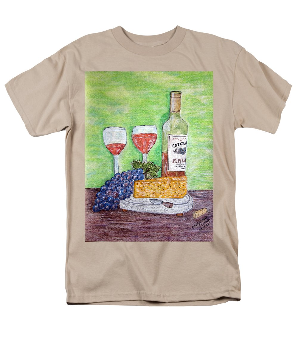 Cheese Men's T-Shirt (Regular Fit) featuring the painting Cheese Wine and Grapes by Kathy Marrs Chandler