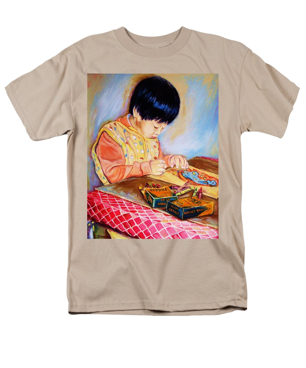 Beautiful Child Men's T-Shirt (Regular Fit) featuring the painting Commission Portraits Your Child by Carole Spandau