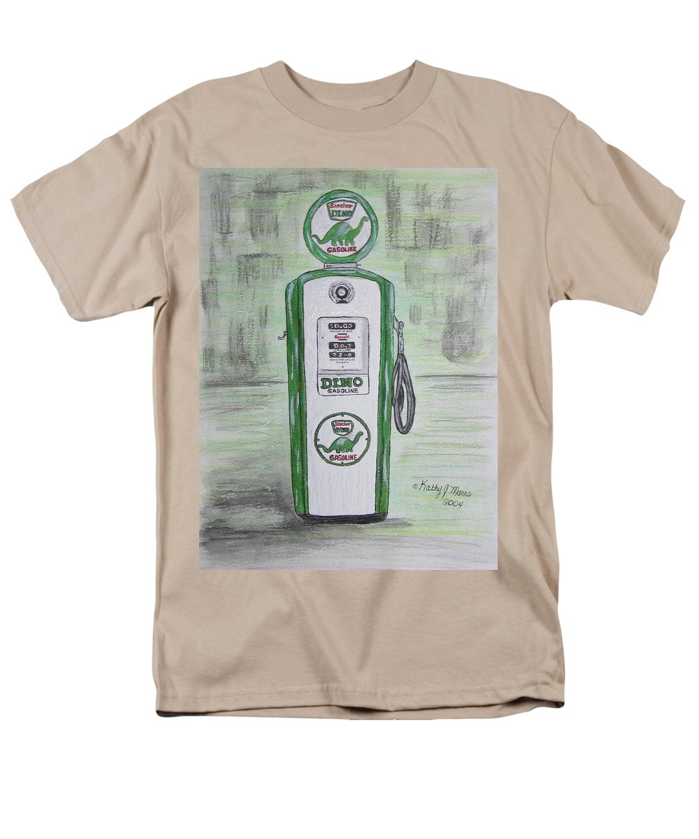 Dino Men's T-Shirt (Regular Fit) featuring the painting Dino Sinclair Gas Pump by Kathy Marrs Chandler