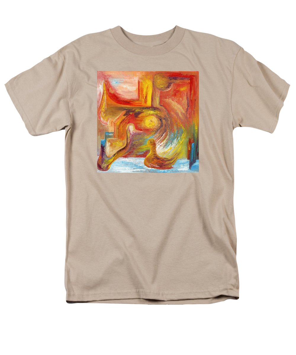 Duck Men's T-Shirt (Regular Fit) featuring the painting Duck The Alchemist by Karina Ishkhanova