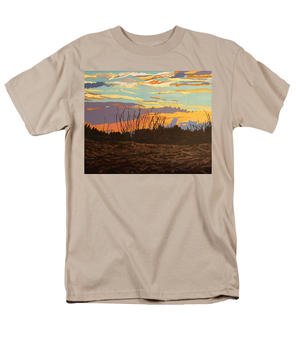 Sunset Men's T-Shirt (Regular Fit) featuring the painting Dusk Fishing, Hutchinson Island by Leah Tomaino