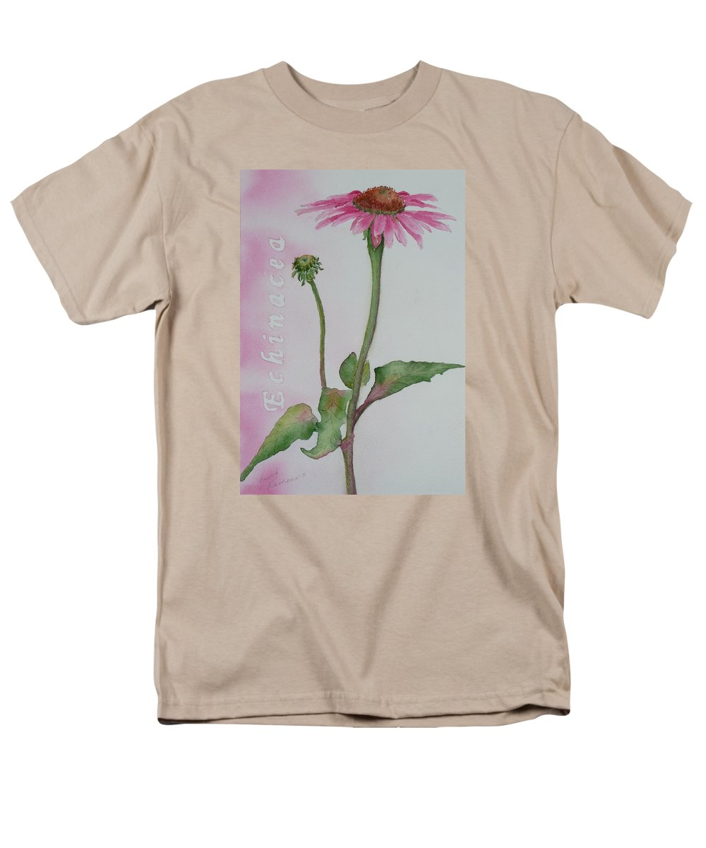 Flower Men's T-Shirt (Regular Fit) featuring the painting Echinacea by Ruth Kamenev