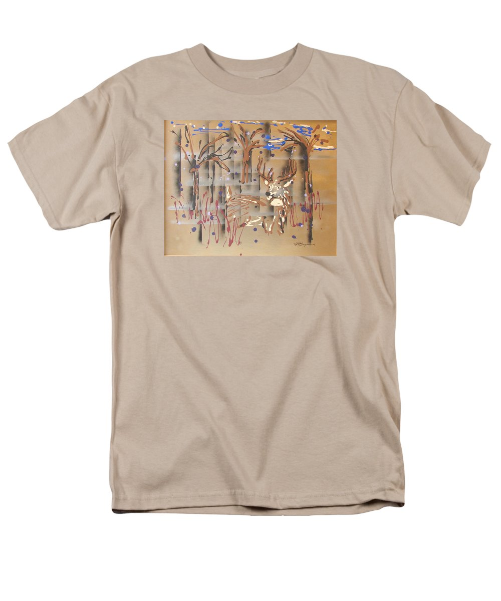 Buck In Tree Line Men's T-Shirt (Regular Fit) featuring the painting Everwatchful by J R Seymour