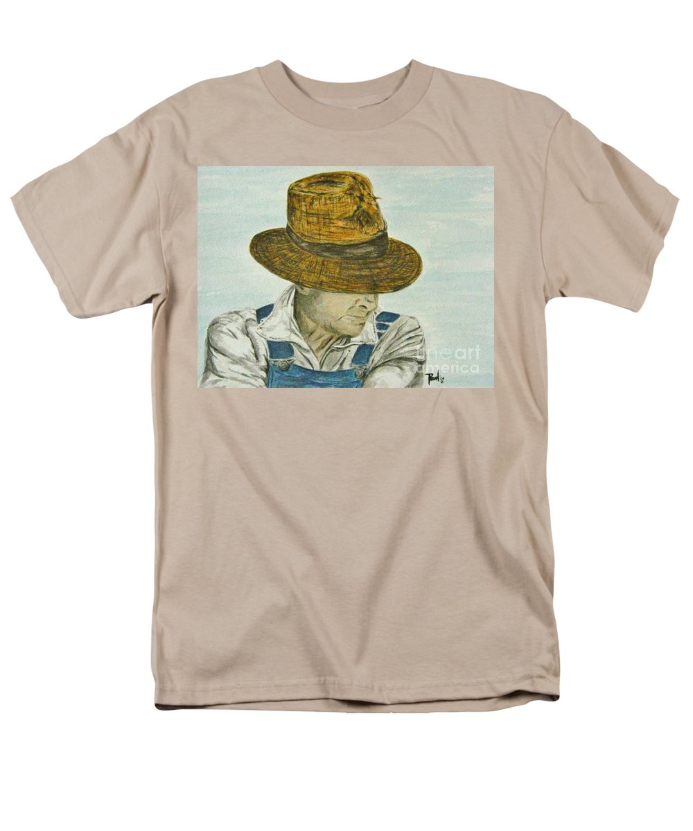 Portrait Men's T-Shirt (Regular Fit) featuring the painting Farmer Ted by Regan J Smith