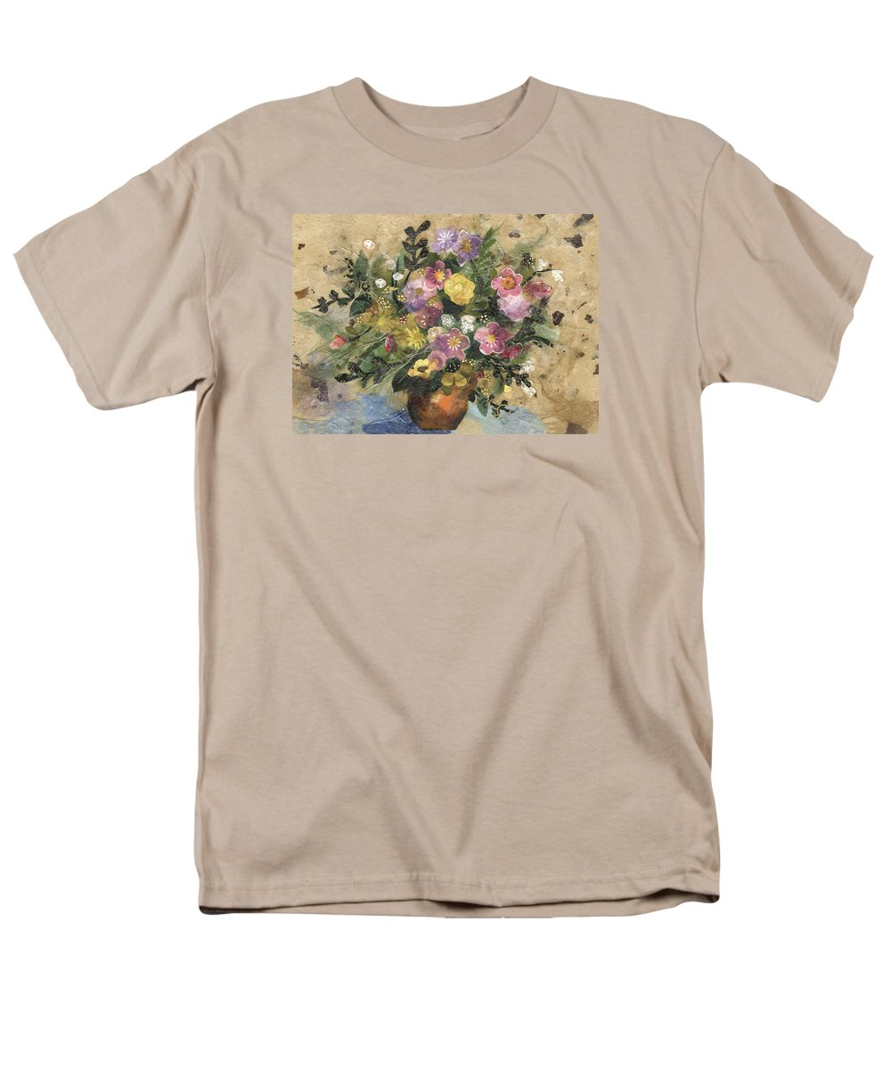 Limited Edition Prints Men's T-Shirt (Regular Fit) featuring the painting Flowers In A Clay Vase by Nira Schwartz