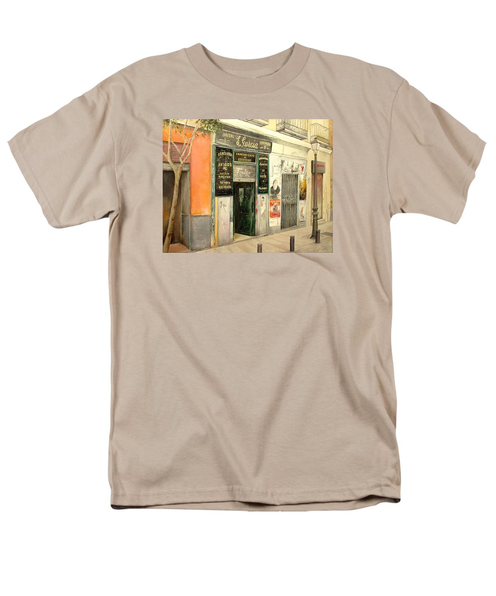 Streetscene Men's T-Shirt (Regular Fit) featuring the painting Fontaneria E.Garcia by Tomas Castano