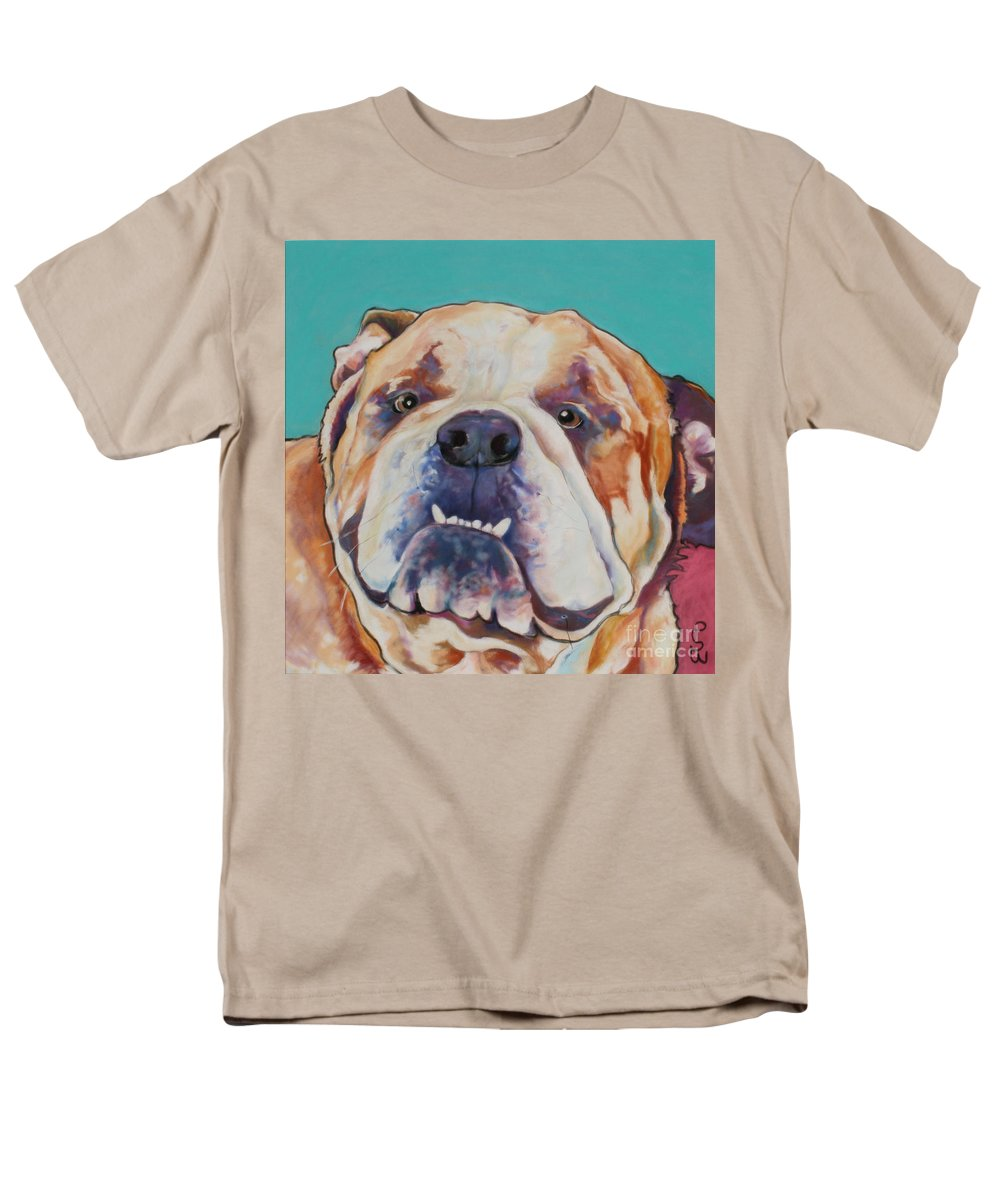 Pat Saunders-white Pet Portraits Men's T-Shirt (Regular Fit) featuring the painting Game Face  by Pat Saunders-White