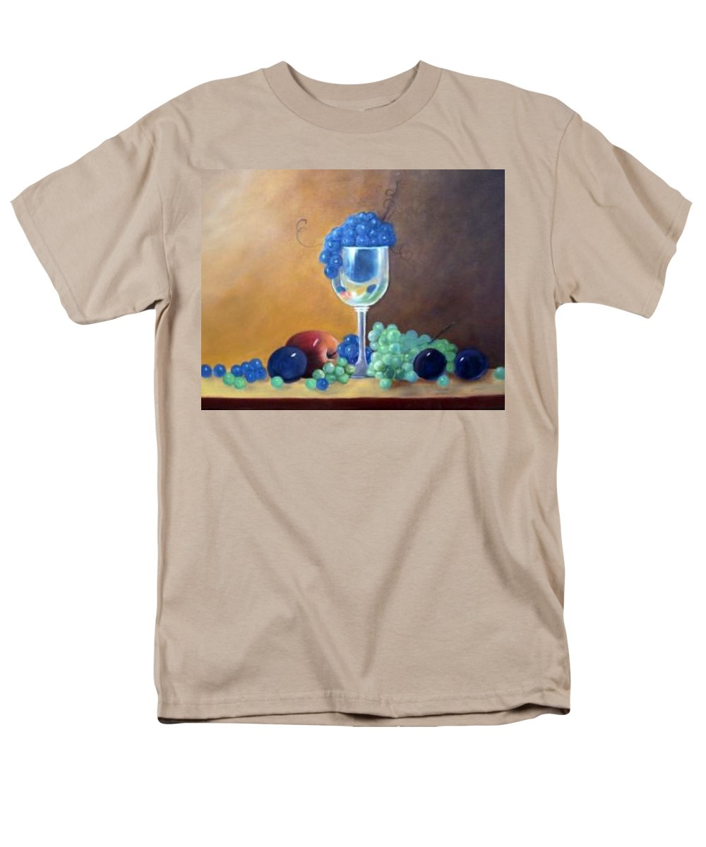 Wine Galsses With Grapes Men's T-Shirt (Regular Fit) featuring the painting Grapes And Plums by Susan Dehlinger