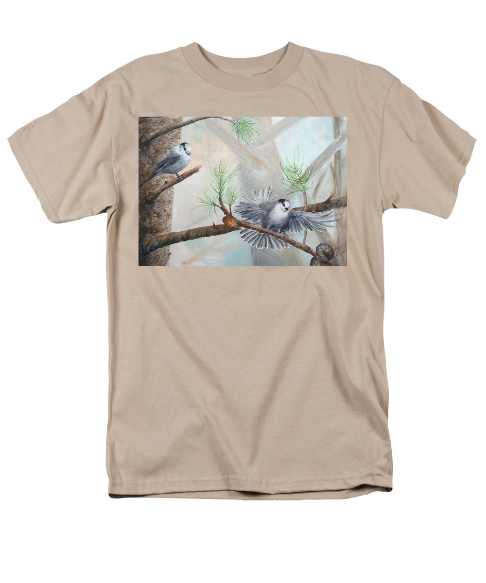 Grey Jay Men's T-Shirt (Regular Fit) featuring the painting Grey Jays in a Jack Pine by Ruth Kamenev