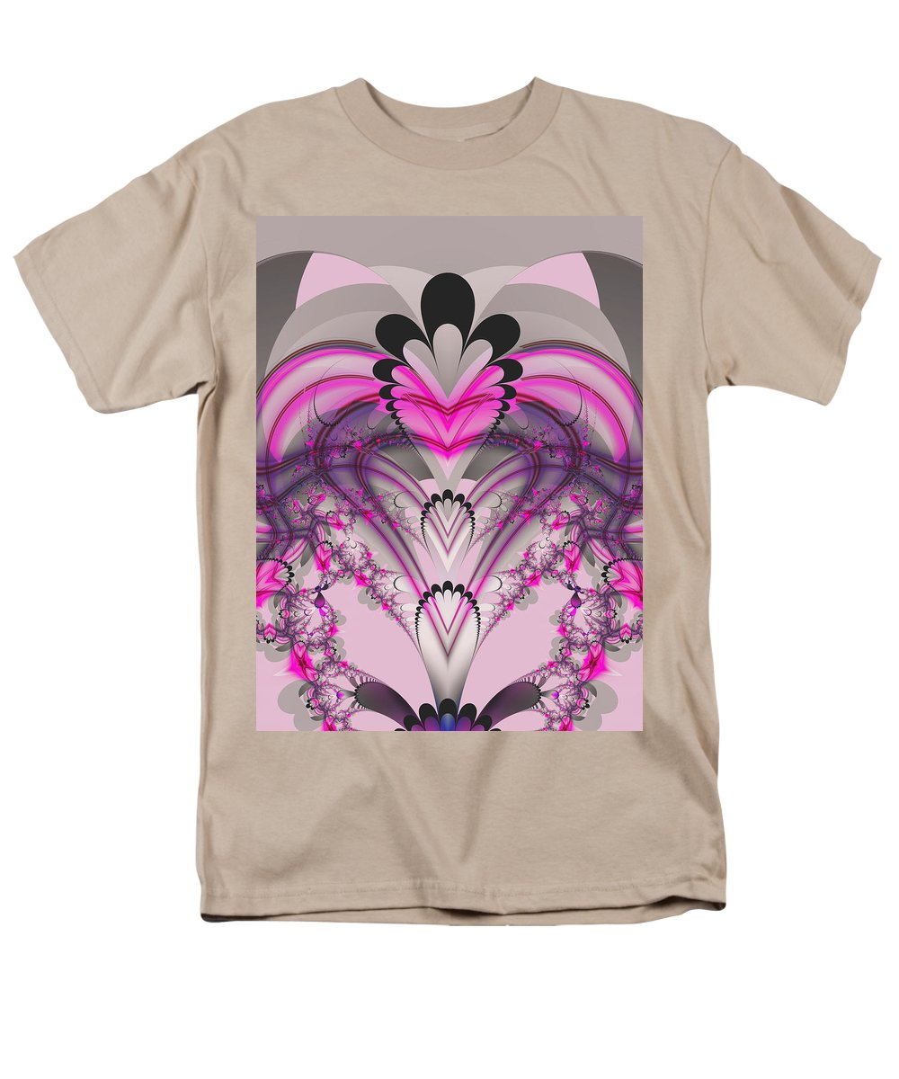 Fractal Men's T-Shirt (Regular Fit) featuring the digital art Hearts by Frederic Durville