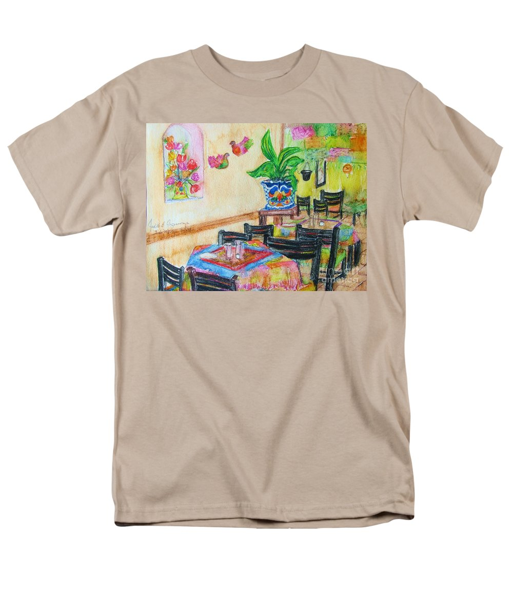 Watercolor Men's T-Shirt (Regular Fit) featuring the painting Indoor Cafe - GIFTED by Judith Espinoza