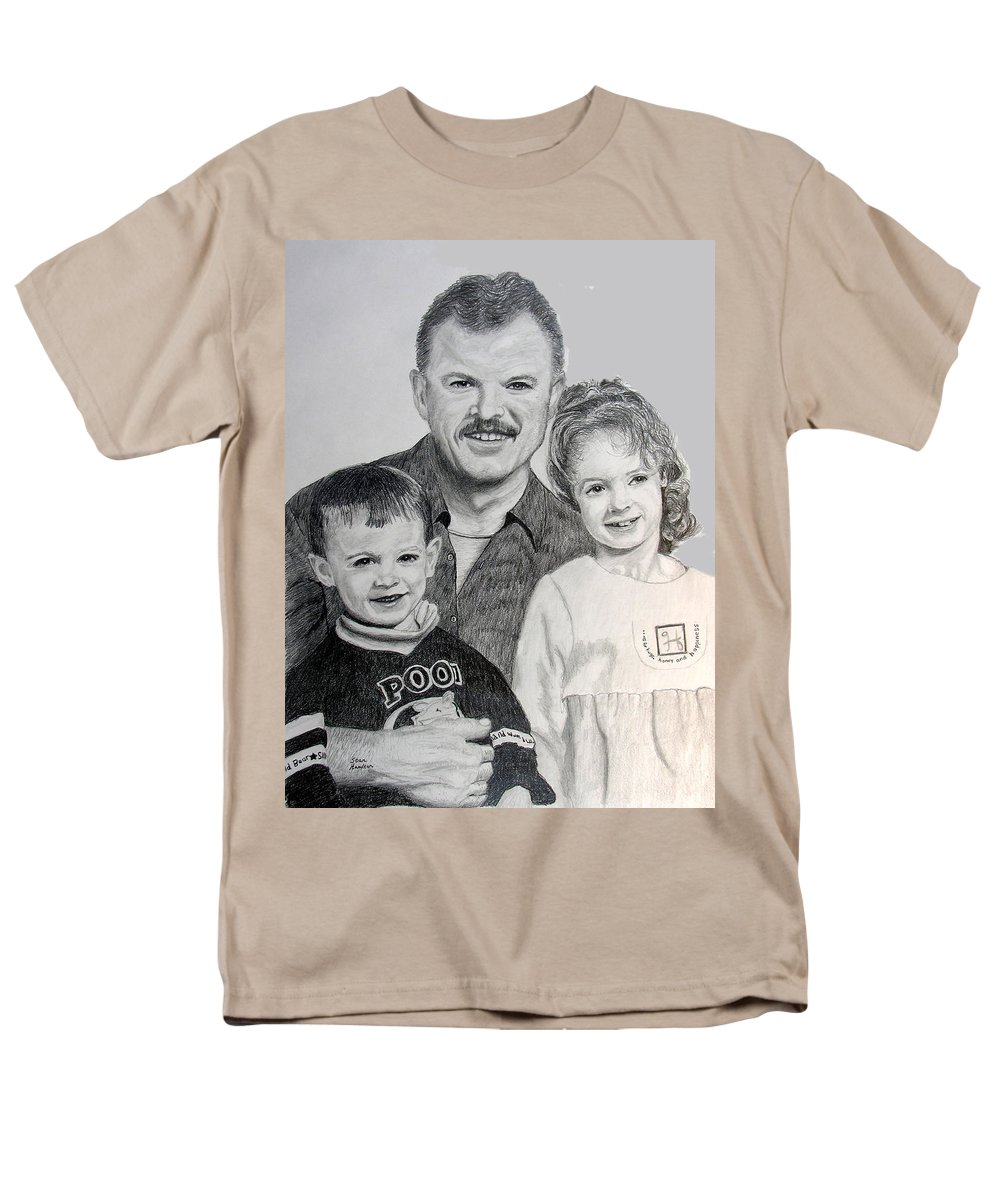 Portrait Men's T-Shirt (Regular Fit) featuring the drawing John Megan and Joey by Stan Hamilton