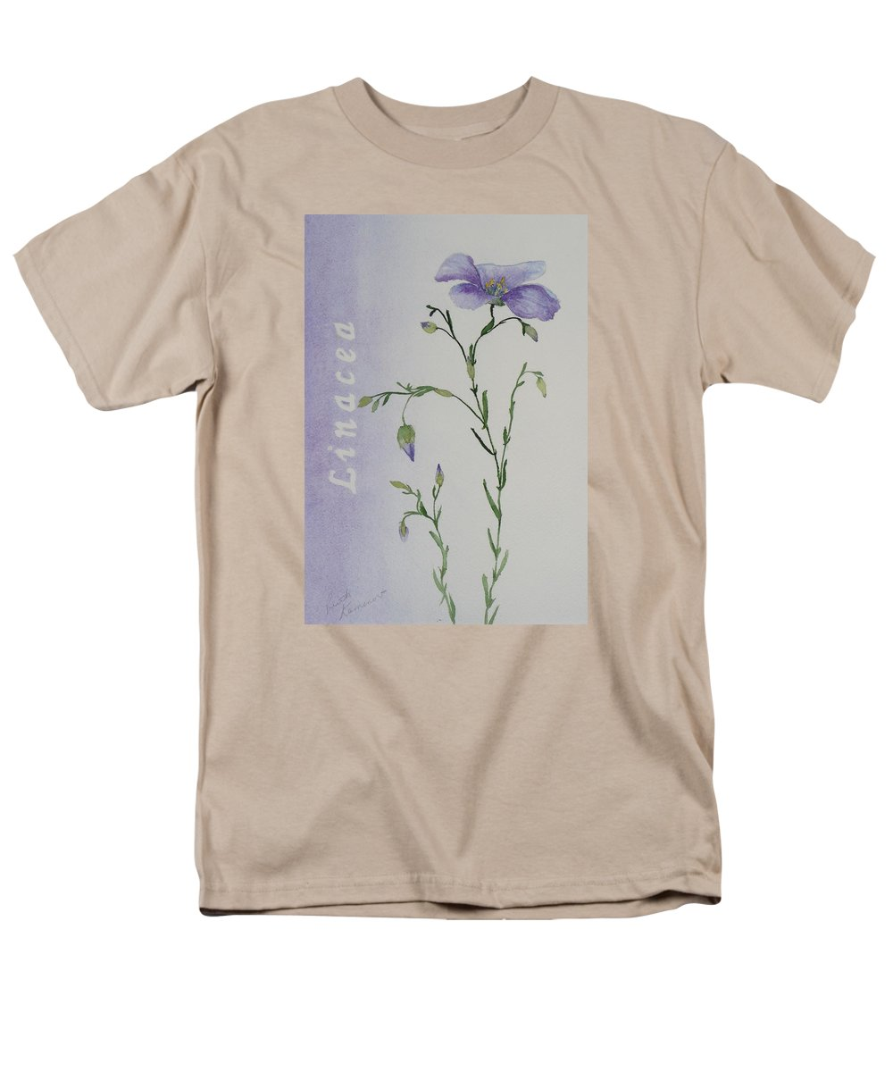 Flower Men's T-Shirt (Regular Fit) featuring the painting Linacea by Ruth Kamenev