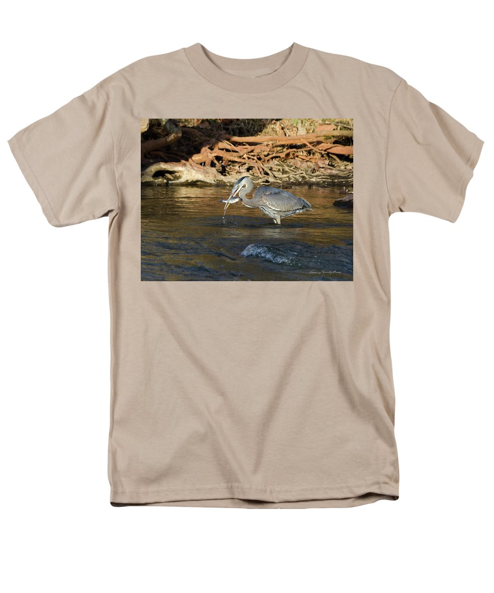 Heron Men's T-Shirt (Regular Fit) featuring the photograph Lunch On The Neuse River by George Randy Bass