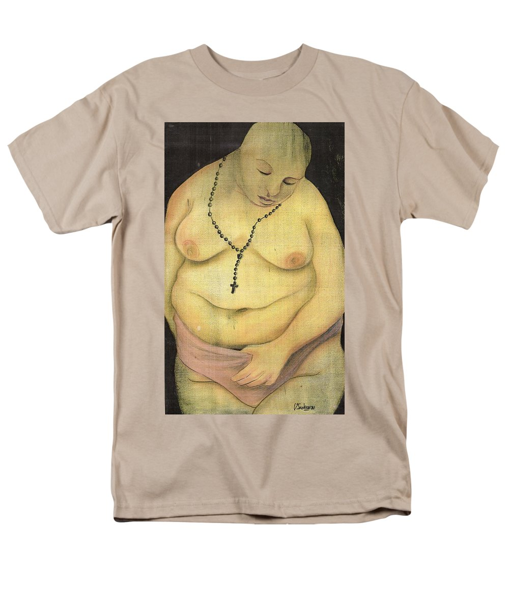 Religion Faith Strugle Conflict Lust Nature Men's T-Shirt (Regular Fit) featuring the mixed media Nature Contradicted by Veronica Jackson