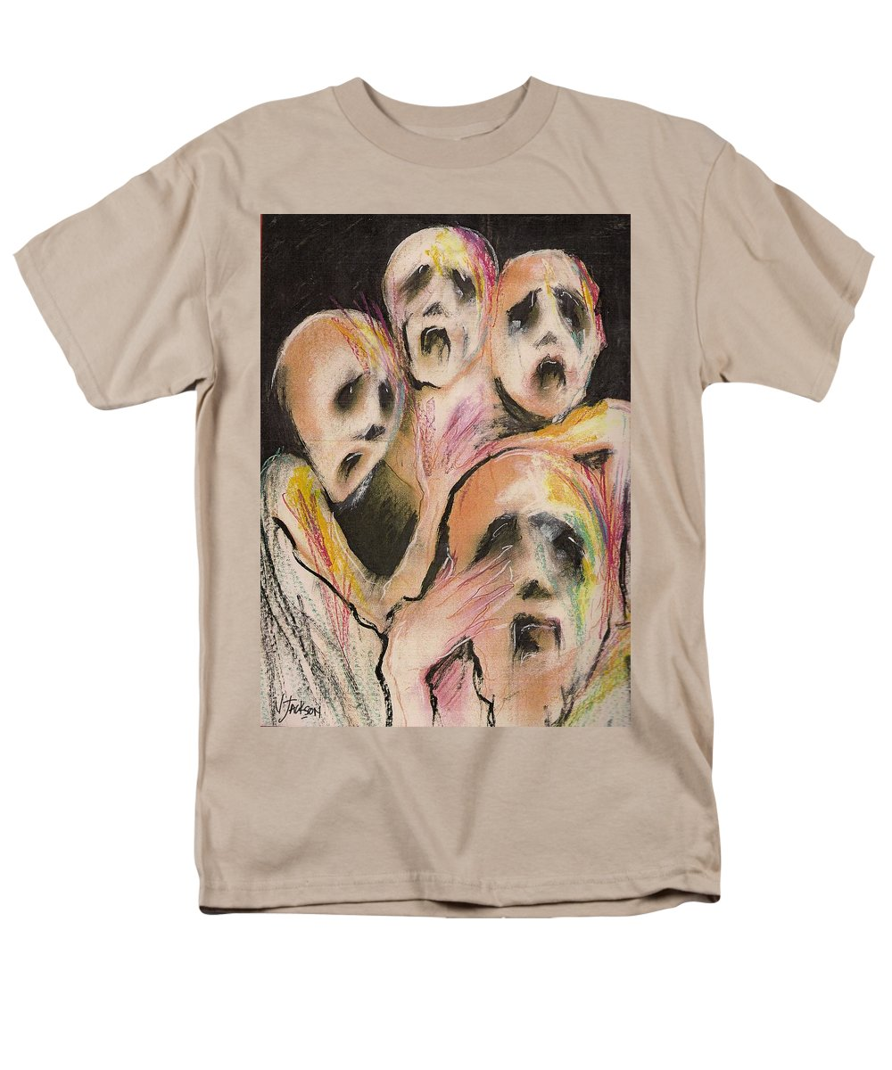 War Cry Tears Horror Fear Darkness Men's T-Shirt (Regular Fit) featuring the mixed media No Words by Veronica Jackson