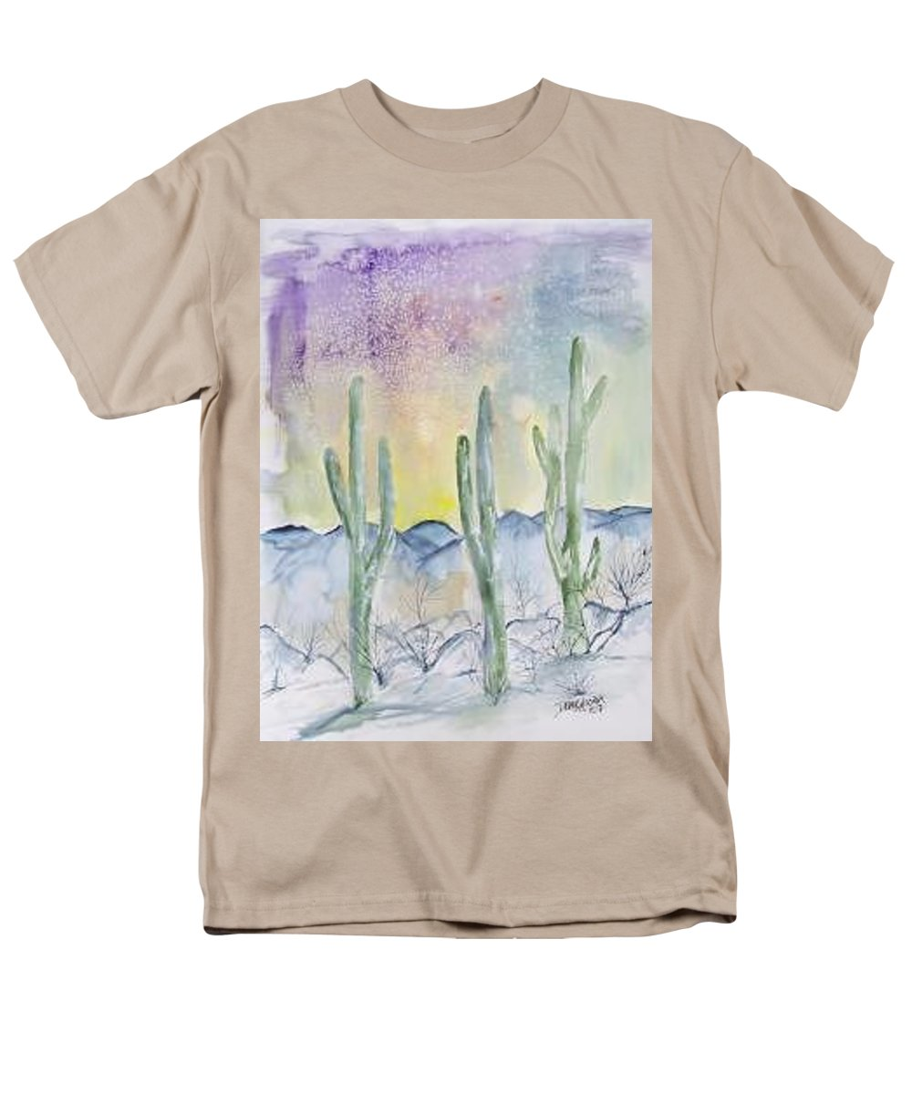 Impressionistic Men's T-Shirt (Regular Fit) featuring the painting Organ Pipe Cactus desert southwestern painting poster print by Derek Mccrea