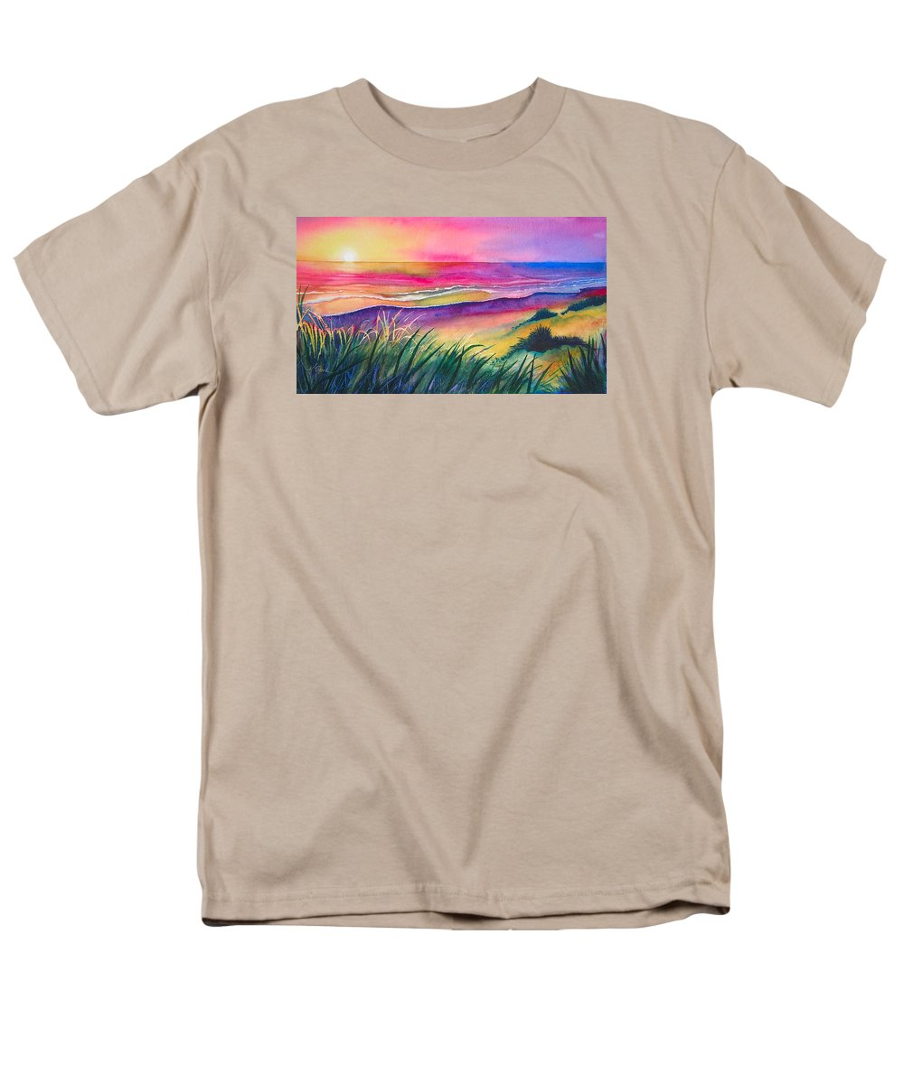 Pacific Men's T-Shirt (Regular Fit) featuring the painting Pacific Evening by Karen Stark