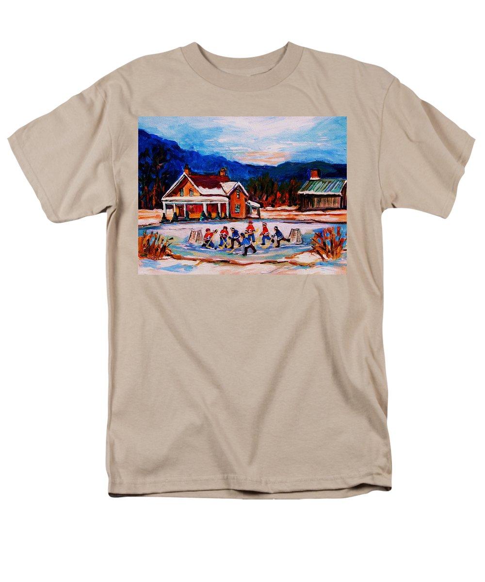 Hockey Men's T-Shirt (Regular Fit) featuring the painting Pond Hockey by Carole Spandau