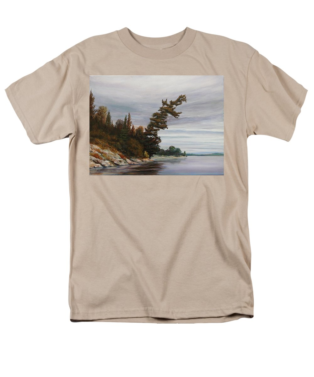 Landscape Men's T-Shirt (Regular Fit) featuring the painting Ptarmigan Bay by Ruth Kamenev