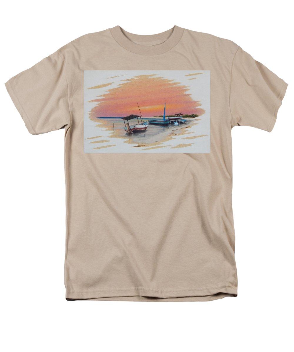 Puerto Pogreso Men's T-Shirt (Regular Fit) featuring the painting Puerto Progreso V by Angel Ortiz