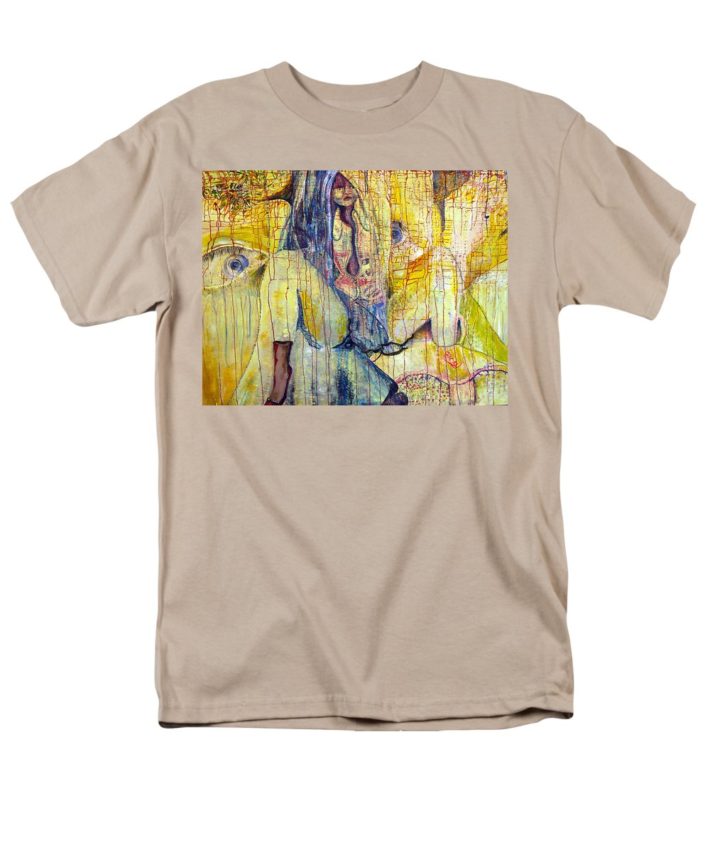 Portrait Men's T-Shirt (Regular Fit) featuring the painting Roots by Peggy Blood