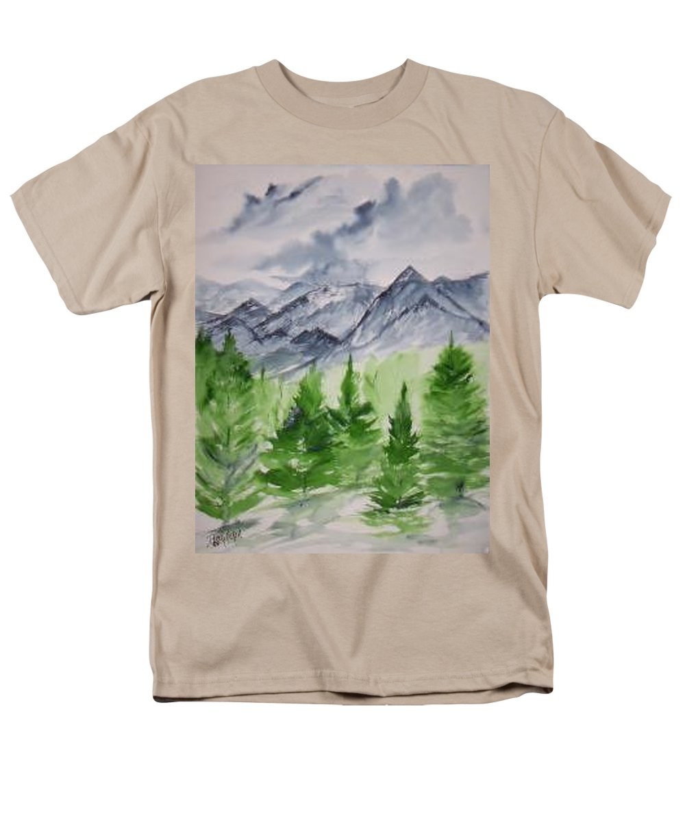 Plein Air Men's T-Shirt (Regular Fit) featuring the painting Ruidoso NM southwestern mountain landscape watercolor painting poster print by Derek Mccrea