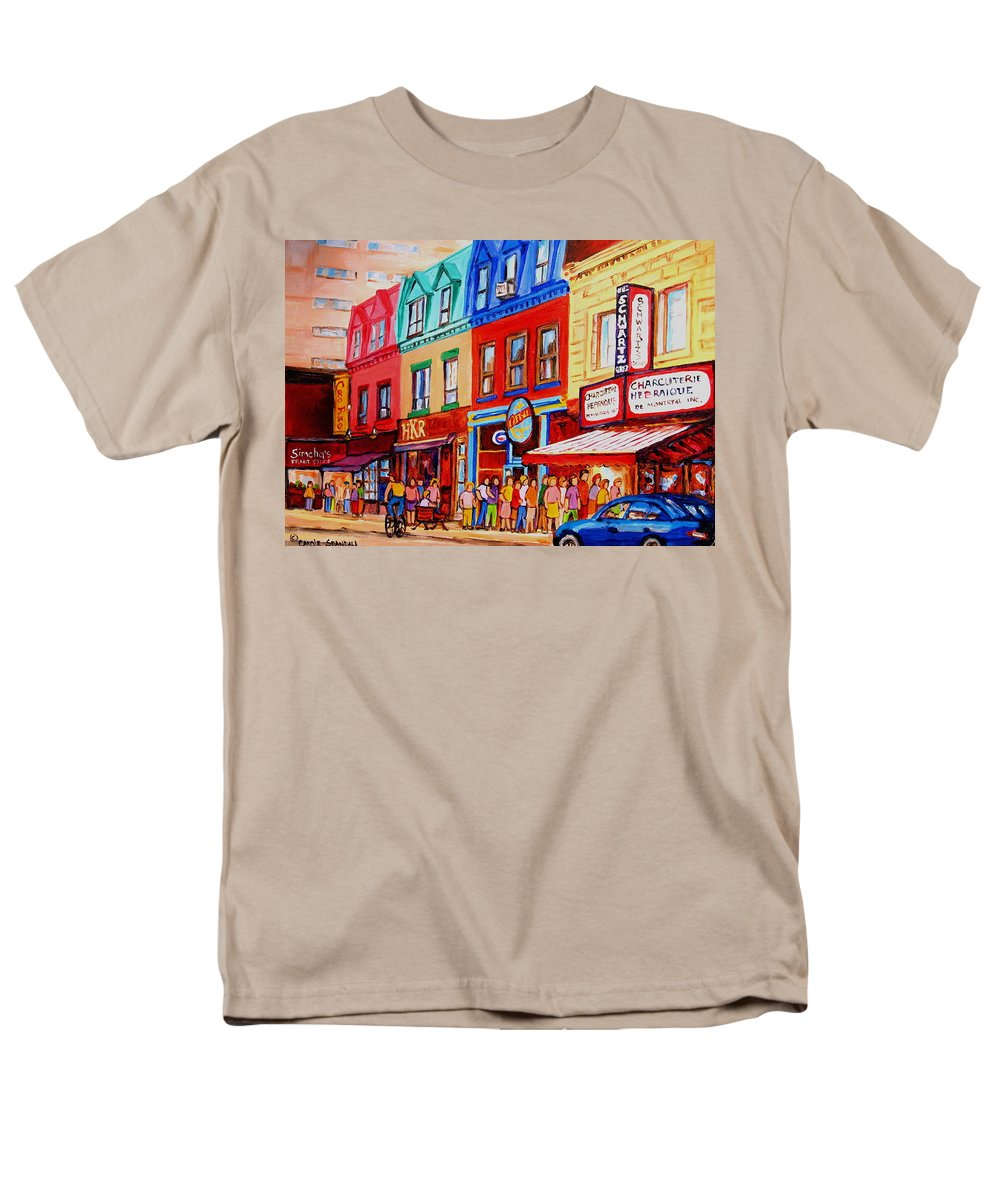 Cityscape Men's T-Shirt (Regular Fit) featuring the painting Schwartz Lineup with Simcha by Carole Spandau