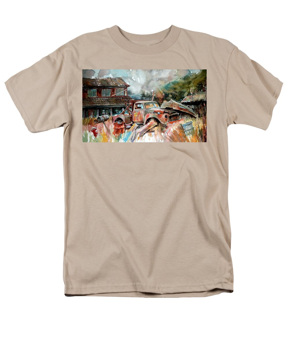 Truck Men's T-Shirt (Regular Fit) featuring the painting Shuttered and Cluttered and Gone by Ron Morrison