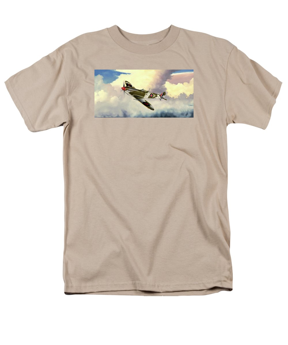 Military Men's T-Shirt (Regular Fit) featuring the painting Spitfire by Marc Stewart
