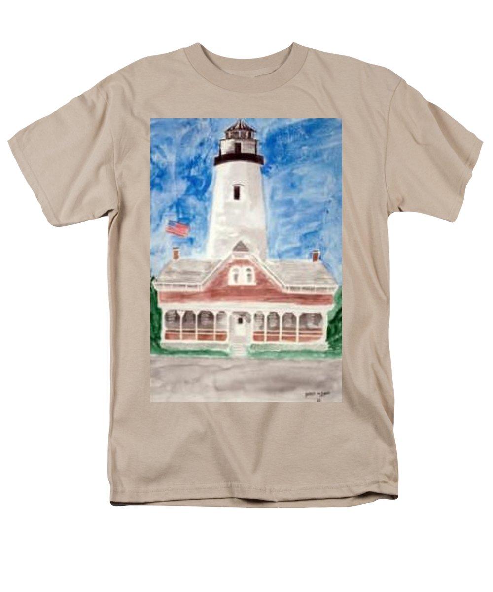 Watercolor Landscape Lighthouse Seascape Painting Men's T-Shirt (Regular Fit) featuring the painting ST SIMONS LIGHTHOUSE nautical painting print by Derek Mccrea