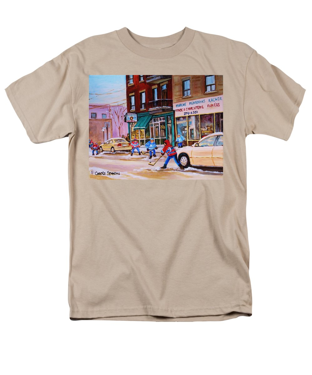 Montreal Men's T-Shirt (Regular Fit) featuring the painting St. Viateur Bagel with boys playing hockey by Carole Spandau