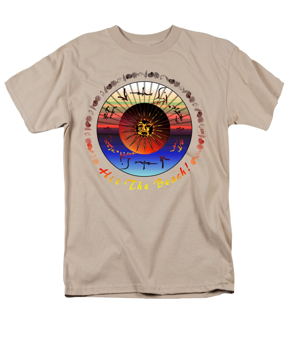 Robert Kernodle Beach Towels Men's T-Shirt (Regular Fit) featuring the drawing Sun Face Stylized by Robert G Kernodle
