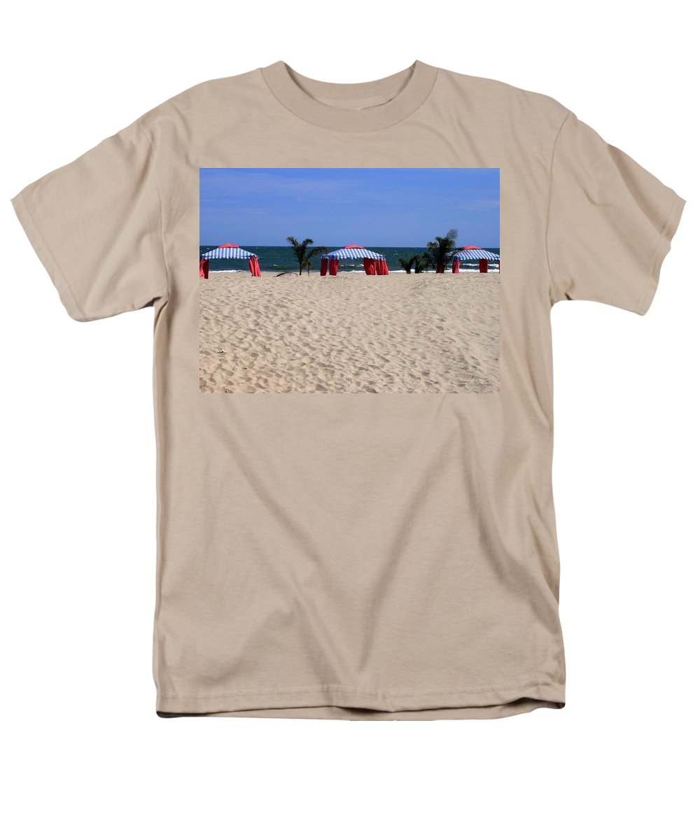 Beach Men's T-Shirt (Regular Fit) featuring the photograph Tent Caravan by Deborah Crew-Johnson