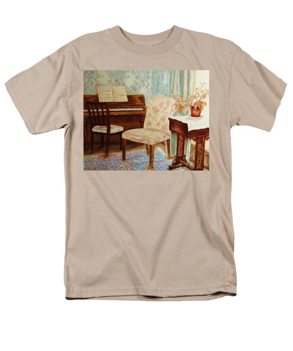 Iimpressionism Men's T-Shirt (Regular Fit) featuring the painting The Piano Room by Carole Spandau