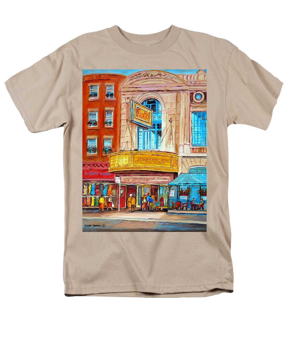 Montreal Men's T-Shirt (Regular Fit) featuring the painting The Rialto Theatre Montreal by Carole Spandau