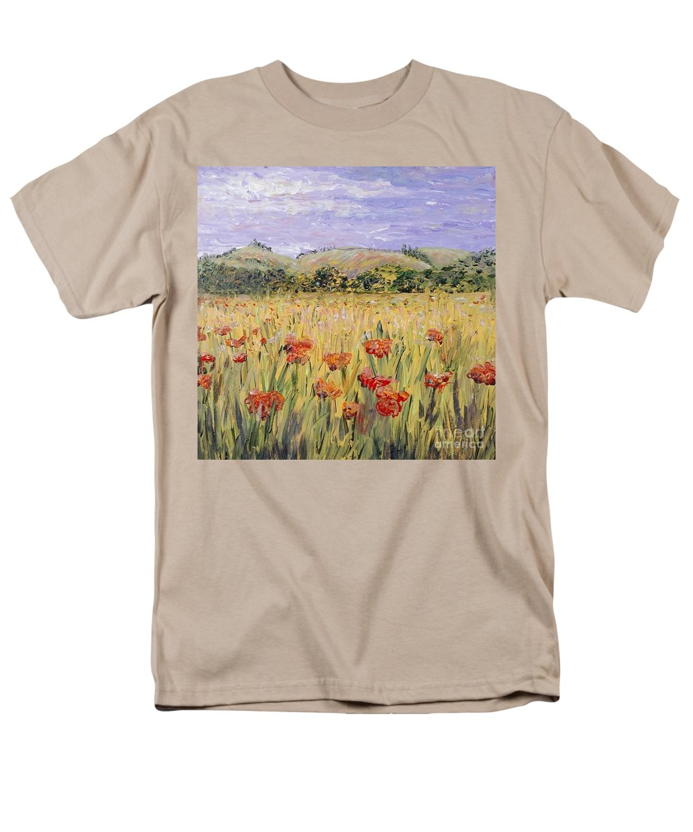 Poppies Men's T-Shirt (Regular Fit) featuring the painting Tuscany Poppies by Nadine Rippelmeyer