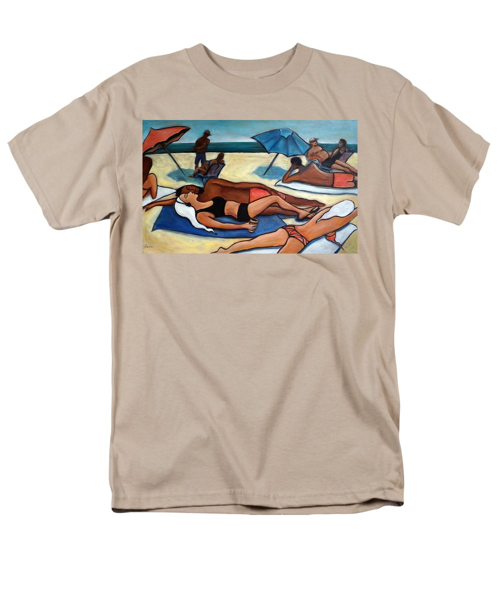 Beach Scene Men's T-Shirt (Regular Fit) featuring the painting Un Journee A La Plage by Valerie Vescovi