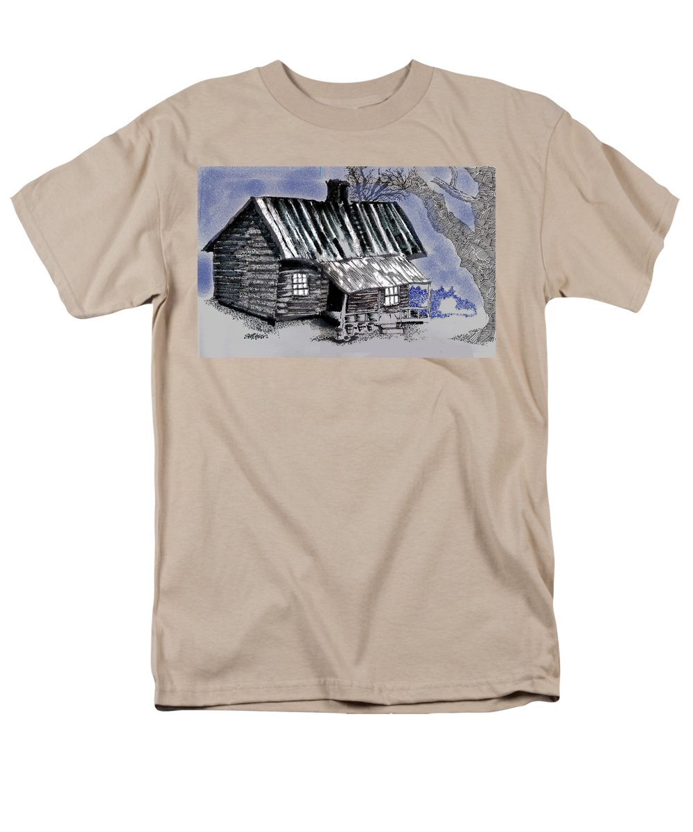 Cabin Men's T-Shirt (Regular Fit) featuring the drawing Under a Tin Roof by Seth Weaver