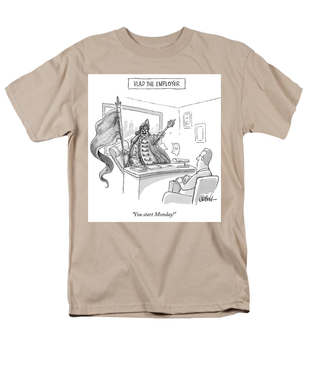 Monday Men's T-Shirt (Regular Fit) featuring the drawing Vlad The Employer by Jason Chatfield