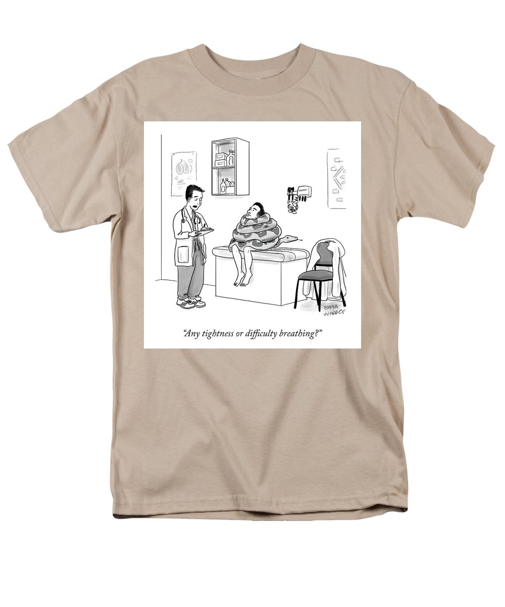 Any Tightness Or Difficulty Breathing? Men's T-Shirt (Regular Fit) featuring the drawing Any Tightness? by Sofia Warren