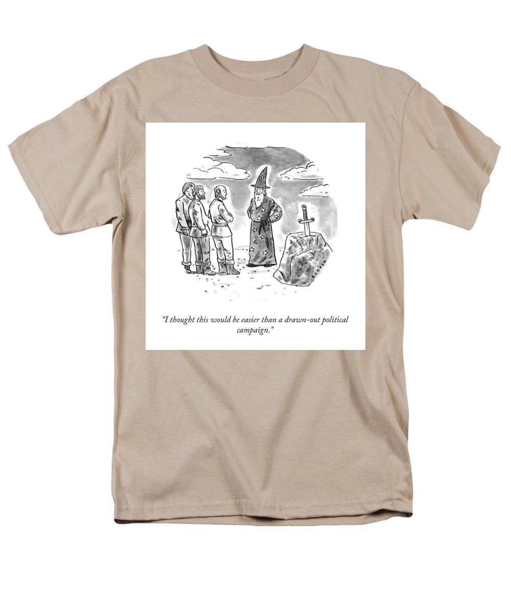 I Thought This Would Be Easier Than A Drawn-out Political Campaign. Men's T-Shirt (Regular Fit) featuring the drawing Drawn Out Political Campaign by Brendan Loper