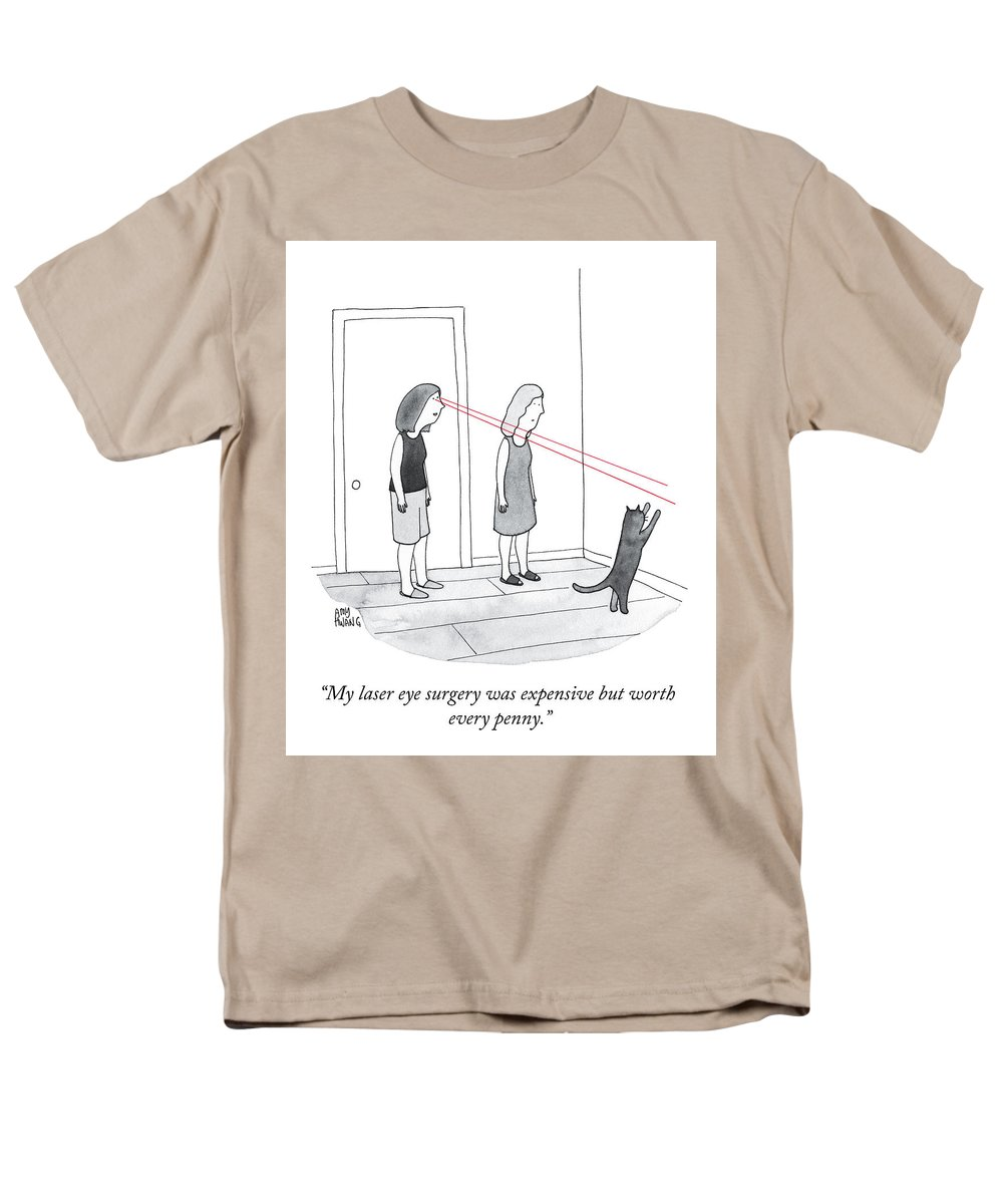 """""""my Laser Eye Surgery Was Expensive But Worth Every Penny."""" Lasik Men's T-Shirt (Regular Fit) featuring the drawing Worth Every Penny by Amy Hwang"""