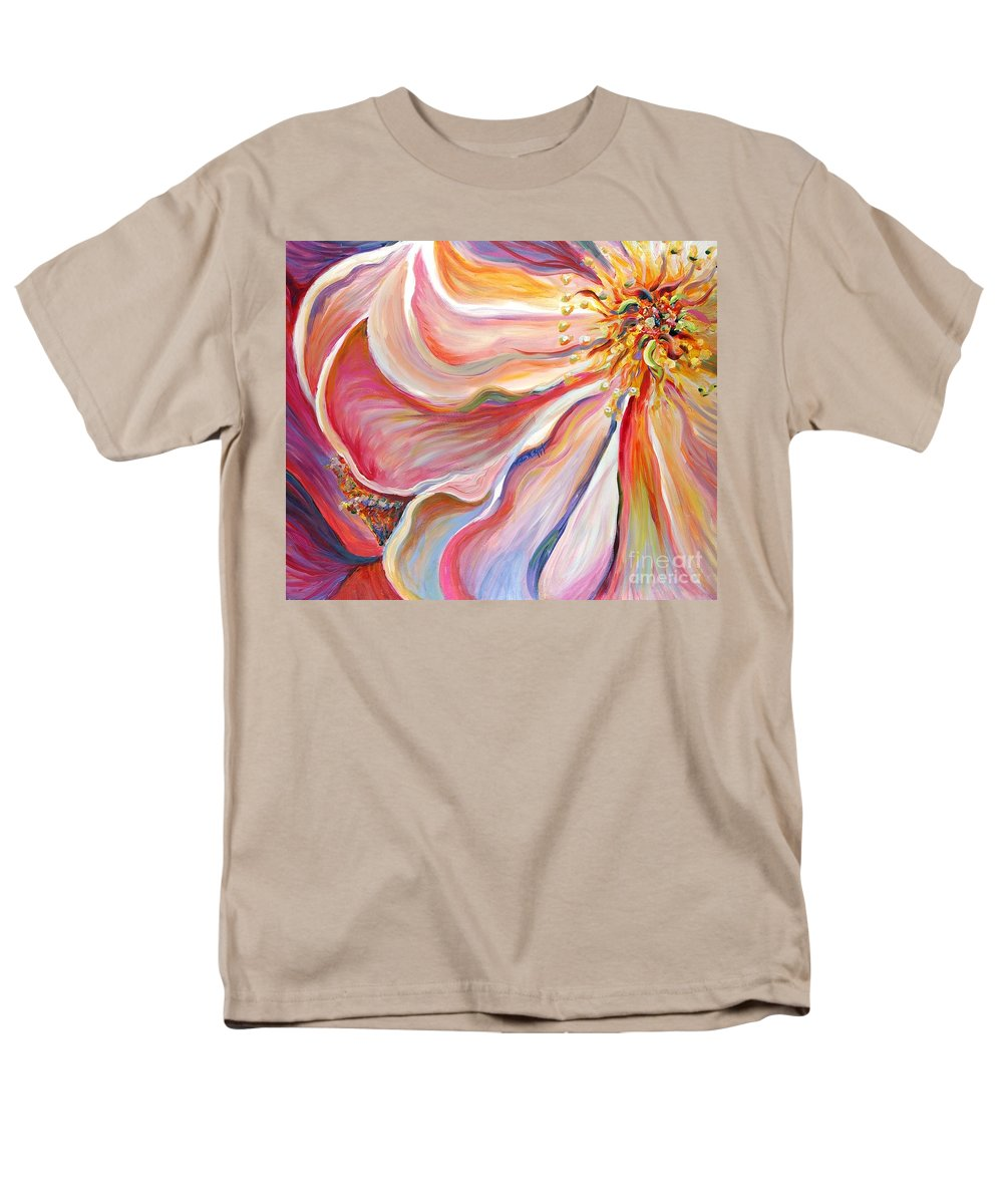 Pink Poppy Men's T-Shirt (Regular Fit) featuring the painting Pink Poppy by Nadine Rippelmeyer